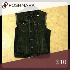 Jean vest. Dark blue jean. Two pockets. Black  buttons Pockets. Ripped off slevees look Forever 21 Jackets & Coats Vests