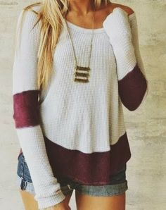 Long Sleeves Sweater with Jeans Shorts