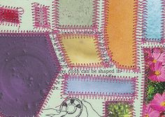 Living Things Three - paper quilt / sewn collage on vintage binder divider