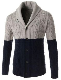 Mens knit shawl collar cardigan 52A