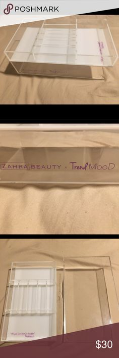 Zahra Beauty trendmood Makeup Container organizer Makeup Acrylic organizer container. This is 2 pieces. Lightly used. Usually stayed on my Vanity. No marks or cracks. You can use this with lipgloss, lipstick, makeup palettes. Smoke Free Home. Makeup Brushes & Tools
