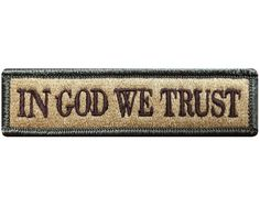 """V80 Tactical in god we trust patch Multi- Tan 1""""x3.75"""" velcro hook *Made in USA*"""