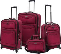 7964e3ae51 U.S. Traveler 4 Piece Exp Spinner Luggage Set Maroon - via eBags.com! Travel