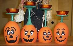 Cute Dollar store craft idea for Halloween decorating.... http://www.familycorner.com/homegarden-crafts/pumpkin-candle-holders.html  you could swap colors and do ghosts, Frankenstein, mummies, skullies , Witches etc your imagination is your limit