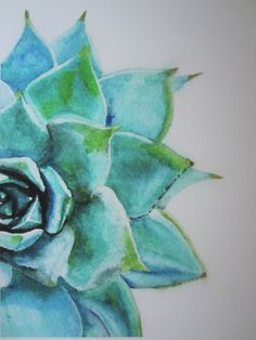 Watercolor giclee print of half of a succulent, in striking turquoise blues and green. It is printed on archival paper with archival inks,