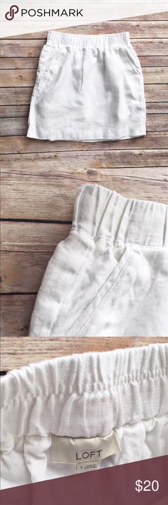 """Loft white linen mini skirt White linen minknskirt from Loft, size small. Fully lined, wide elastic waistband and front pockets. Excellent condition. Flat measurements are waist 14.5"""", hips 21"""", 18"""". LOFT Skirts Mini"""
