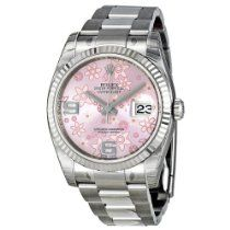 Rolex Watches Collection For Women : Rolex Datejust Automatic Pink Floral 18 kt White Gold Ladies Watch ** You can find out more details at the link of the image. (This is an affiliate link) - Watches Topia - Watches: Best Lists, Trends & the La Luxury Watches, Rolex Watches, Watches For Men, Analog Watches, Wrist Watches, Stainless Steel Rolex, Stainless Steel Bracelet, Rolex Datejust, Buy Rolex