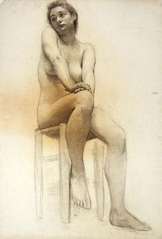 Female Nude  - Adolph Robert Shulz (American, 1869-1963)  Medium  charcoal on off-white paper