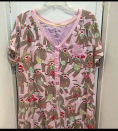 Nick & Nora Short Sleeve Pink Nightgown Sock Monkey w/ Flowers  XXL 2X EUC #NickNora #Gowns #Everyday Pink Nightgown, Nick And Nora, Night Gown, Monkey, Socks, Clothes For Women, Blouse, Sleeve, Flowers