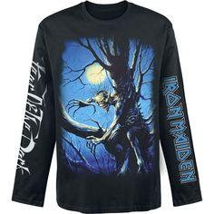 """Perinteinen pitkähihainen Iron Maiden -bändipaita klassisella """"Fear Of The Dark"""" -designilla. Hihaprintit ja kaikki!"""