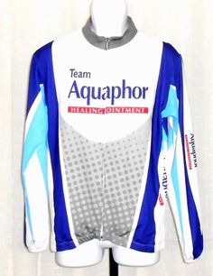 Zoca Team Aquaphor Long Sleeve Full Zip Cycling Jersey Size Medium #Zoca