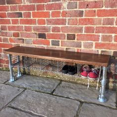 Industrial Vintage School Locker Room Bench Galvanised Shoe Storage in Home, Furniture & DIY, Furniture, Benches   eBay
