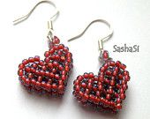 Valentines Beaded Heart Earrings - Sterling Silver Earwires