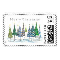 Merry Christmas Postage Stamp Holiday Trees