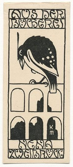 ≡ Bookplate Estate ≡ vintage ex libris labels︱artful book plates - Ex Libris Nena Zweibrück by Koloman Moser (1868-1918)