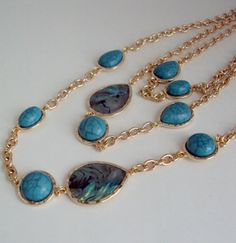 Multi Strand Turquoise Necklace Adorable necklace made from gold chain and turquoise stone. Perfect necklace to wear every day it will add