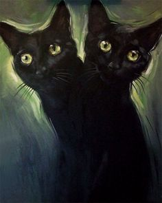 2 Headed Black Cat Original Oil Painting by Diane Irvine Armitage 16 x 20 inches.
