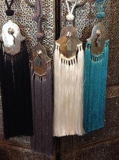 Moroccan Khamsa Hand metal accent tieback tassels by Morokko, $64.99