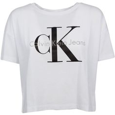 Calvin Klein Cropped T-shirt ($33) ❤ liked on Polyvore featuring tops, t-shirts, bianco, crew neck tee, short sleeve t shirts, short sleeve tops, crop top and crewneck tee