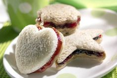 Fun shaped Peanut butter & jelly sandwiches