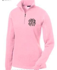 Quarter zip monogrammed pullover available at From the Heart www.facebook.com/fromtheheartcullman
