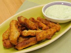 Sunny's Beer-Battered Eggplant Fries with Nunya Business Tzatziki Dip recipe from Sunny Anderson via Food Network