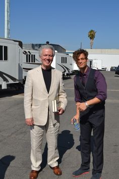 With Matthew Gray Gubler on the set of Criminal Minds. He was worried that we might catch his cold. (merletemple.com)