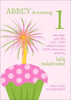 Cupcake with Sparkler Party Invitations
