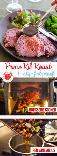 Just 1 step, fail-proof Prime Rib Roast Recipe. Use a rotisserie for 1-step cooking. From cookbook author and TV chef,  Jaden of Steamy Kitchen ~ http://steamykitchen.com
