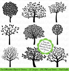 Tree Silhouettes Clipart Clip Art, Family Tree Clipart Clip Art - Commercial and Personal Use via Etsy