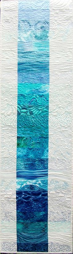 Cool quilting...perfect to hang on narrow wall opposite door to main bathroom (the one with the underwater theme).