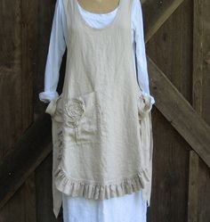 linen jumper pinafore apron dress tunic smock in sand I'd make without the ruffle but I LIKE THE ROUNDED HEM