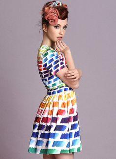 Multicolor Short Sleeve Rainbow Print Skater Dress