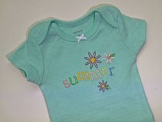 Baby Girl Summer Bodysuit, Infant Girl Short Sleeve Onesie, Girl's Summer Onesie, Embroidered Bodysuit by SewFlurry on Etsy