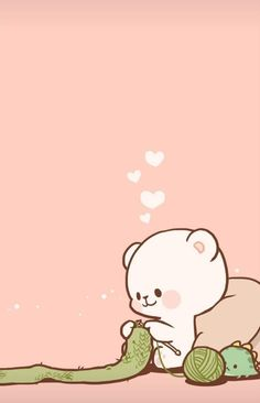 Bear Wallpaper, Kawaii Wallpaper, Cute Wallpaper Backgrounds, Wallpaper Iphone Cute, Cute Couple Cartoon, Cute Love Cartoons, Cute Bear Drawings, Kawaii Drawings, Halloween Illustration