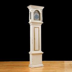 Pine 18th Century Danish Tall Case Clock in White Laquer, c. 1750 Antique Pine Furniture, Painting Antique Furniture, Antique Paint, Painted Furniture, Antique Clocks, American, 18th Century, Danish, Antiques