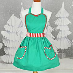 CHRISTMAS apron  womens full apron in green with red stripes Santas Helper or Elf apron, sale, gift under 20 dollars, hostess gift