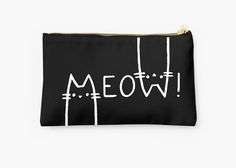 #Save 20% from the safety of your sofa with code SHARKMANIA - #Black and white, #meow! • Also buy this artwork on #bags, apparel, stickers, and more. #pouch #style #accessories #sale #onsale
