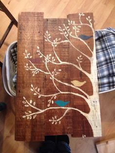Birds in a tree, turquoise and Marsala on reclaimed lumber. Rustic wall art.