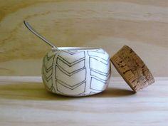Black and White Chevron Ceramic Jar. Sugar bowl. Ceramic jar with cork lid. Modern. Geometric. Spice jar. Kitchen storage. Home decor. on Etsy, $40.67 CAD