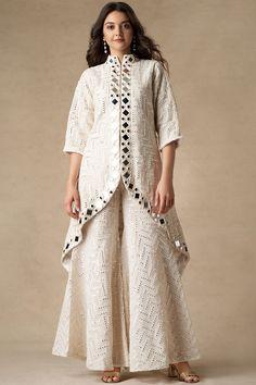 Buy Mirror Work Jacket by Twenty Nine at Aza Fashions Pakistani Fashion Casual, Pakistani Dresses Casual, Indian Fashion Dresses, Pakistani Dress Design, Indian Designer Outfits, Designer Dresses, Designer Kurtis, Ethnic Fashion, Bollywood Fashion