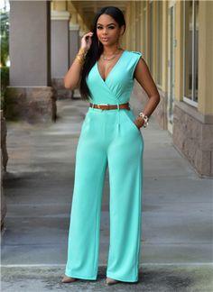 New Loose Sexy European American brands Jumpsuit Ladies Slim V neck Pocket Sleeveless Women full Length jumpsuit belts