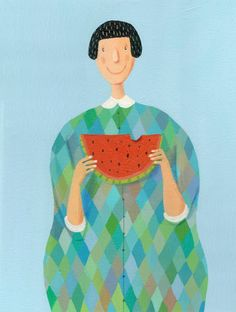 Illustration – Watermelon original painting on canvas – a unique product by behappynow on DaWanda