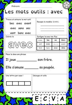 French Worksheets, Kindergarten Learning, Teacher Hacks, Learn French, Teaching Tools, Literacy, Periodic Table, Language, Coding