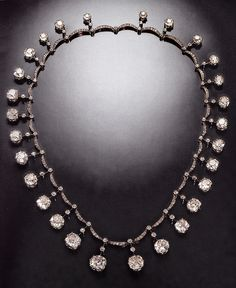 An antique diamond riviere necklace, by Boucheron, circa 1899. The diamonds were originally part of the French Crown Jewels. Source: Boucheron The Secret Archives, Vincent Meylan