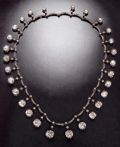An antique diamond riviere necklace, by Boucheron, circa 1899. The diamonds were originally part of the French Crown Jewels. Source: Boucheron The Secret Archives, Vincent Meylan