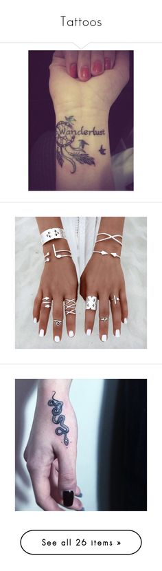 """""""Tattoos"""" by natalialovesnutella12 ❤ liked on Polyvore featuring accessories, body art, tattoos, backgrounds, other, phrase, quotes, saying, text and jewelry"""