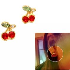 Cherry Fruit, Swarovski Crystals, Stud Earrings, Lady, Gold, Stuff To Buy, Fresh, Jewelry, Projects