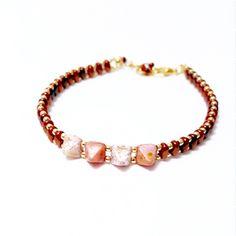 Pink Pyramid Superduo Bracelet