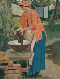 'Washing Day' by Welsh artist Augustus John. Rumbustious painter and character (1878-1961).